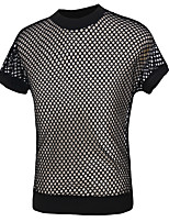Men's Fashion Personality Mesh Perspective Slim Fit Short Sleeve T-Shirt, Cotton /Polyester