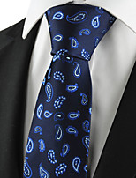 KissTies Men's Tie Navy Dark Blue Paisley Necktie Wedding/Business/Party/Work/Casual With Gift Box