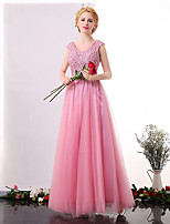 Formal Evening Dress A-line V-neck Ankle-length Tulle with Lace / Sequins
