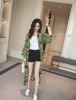 Women's Print Green Trench Coat,Street chic Long Sleeve Polyester