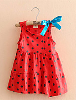 Cute Dot Print Enfant Casual Children Girls Clothing Girl Chiffon Sundress Dress With Bow Summer Party Dress