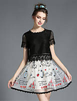 Women's Elegant Lace See Through Hollow Patchwork Embroidery Print Fake Two Piece Summer Dress