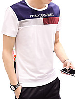 Men's Short Sleeve T-Shirt,Cotton / Spandex Casual / Work / Formal Print / Patchwork