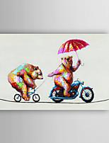 animales pintura al óleo pintada a mano dos osos inteligentes en el ciclismo con el marco estirado Arts® 7 de pared