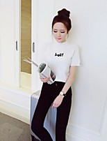 Women's Print White / Black Pullover,Street chic Short Sleeve