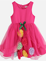 Girl's Pink / Purple Dress,Patchwork Cotton / Polyester All Seasons