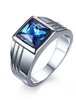 Blue Zircon Titanium Steel Men's Ring