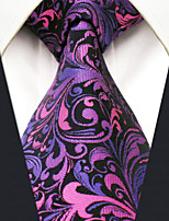 Men's 100% Silk  Tie Purple Floral Necktie Jacquard Woven