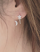 Star Moon Shape Pearl Rhinestone Stud Earrings