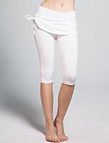 Pantalones de yoga Cortados Transpirable / Antiestático / Reductor del Sudor Cintura Media Eslático Ropa deportiva Blanco / Negro Mujer