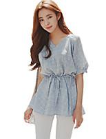 Women's Plaid Blue T-shirt,V Neck ½ Length Sleeve