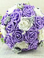 Bouquets de Noiva Redondo Rosas Buquês Casamento Azul / Rosa / Vermelho / Roxo Cetim / Flôr Seca 9.06