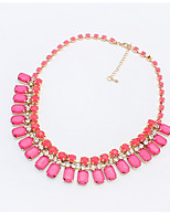 European And American Fashion Personality Wild Geometric Squares Resin Exaggeration Chain Bib Statement Necklace