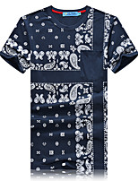 Men's Print Casual / Sport T-Shirt,Cotton Short Sleeve-Blue