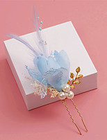Donne Piume / Cristalli / Lega / Perle false / Tessuto Copricapo-Matrimonio / Occasioni speciali Fermacapelli 1 pezzo