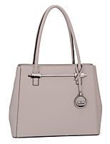 DAVIDJONES/Women PU Shopper Shoulder Bag / Tote-Beige / Gray