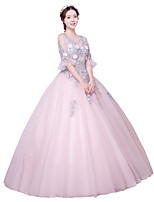 Formal Evening Dress Ball Gown Jewel Floor-length Tulle with Appliques