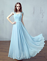 Formal Evening Dress A-line Sweetheart Floor-length Chiffon / Lace with Lace