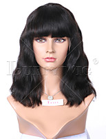 Natural Wave Short Wig Full Bangs Brazilian Virgin Lace Wig Short Bob Human Hair Full Lace Human Hair Bob Wig With Bangs