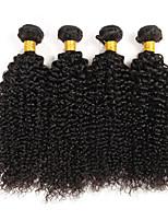 4 pièces / lot brazilian bouclés cheveux vierge naturelles noir 100% remy extensions de cheveux humains tissage pour les femmes noires 400g