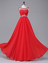 TS Couture® Formal Evening Dress A-line Scoop Floor-length Chiffon / Stretch Satin with Beading / Draping