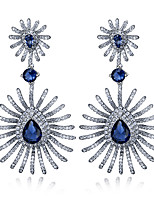 Women Fashion Earrings Platinum Plated With 4 Colour Cubic Zirconia Drop Earrings Bridal & party Jewelery