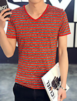 2016 Mens V-Neck T-Shirt Men's Short Sleeve T-Shirt Men's Cotton T Shirts Gym Striped Tshirt