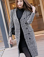 Women's Solid Black / Gray Pea Coats,Simple Long Sleeve Wool