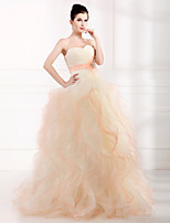 Formal Evening Dress-Champagne Ball Gown Strapless Floor-length Organza