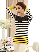Women's Striped Yellow Pullover,Simple Long Sleeve