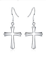 925 Silver Cross  Drop Earrings 1 pair