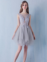 Short / Mini Lace / Tulle Bridesmaid Dress Ball Gown Jewel with Lace