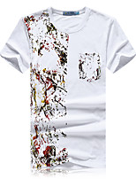 Men's Print Casual / Sport T-Shirt,Cotton Short Sleeve-White