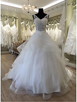 Ball Gown Wedding Dress-Ivory Chapel Train V-neck Lace / Organza / Satin / Tulle