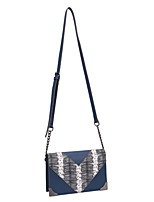 DAVIDJONES/Women PU Baguette Shoulder Bag / Cross Body Bag-Blue / Black