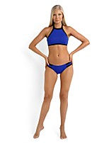 Hot Explosion Models in Europe and America Spell Color Black and Blue Bikini Swimsuit Split Mosaic