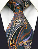 Men's100% Silk  Tie Brown Paisley Fashion