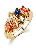 Mixed Color Multicolored Color Zircon Rhinestones Couple Gold Rings