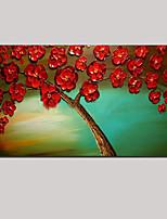 étiré (prêt à accrocher) peinture à l'huile fleur rouge arbre de fleurs peintes à la main d'art de mur de la vie