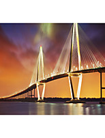 JAMMORY Art Deco Wallpaper Luxury Wall Covering,Canvas Stereoscopic Large Mural  Bridge Landscape Sunset