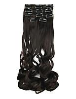 pelo sintético negro de 60 cm de alta temperatura peluca de la extensión del pelo de alambre de longitud