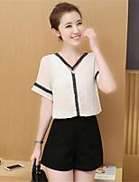 Women's Solid White Blouse,V Neck Short Sleeve