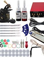 professionele en complete 1 pistool tattoo machine kit 2 stuks inkt voeding naald grips tips