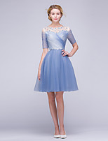 Cocktail Party Dress A-line Jewel Knee-length Tulle with Beading / Sash / Ribbon / Side Draping