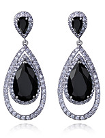 New trend Dressed Wedding Drop shape Platinum plated 4 colors Cubic zircon Drop earrings for women