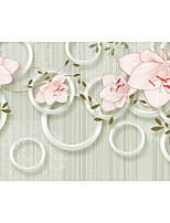 JAMMORY Floral Wallpaper Country Wall Covering,Canvas Stereoscopic Large Mural Pink Flowers
