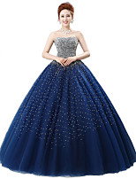 Formal Evening Dress Ball Gown Strapless Floor-length Satin / Tulle / Stretch Satin / Sequined with Crystal Detailing