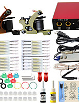 Professional Complete 2 Gun Tattoo Machine Kit 2PCS Ink Power Supply Needle Grips Tips