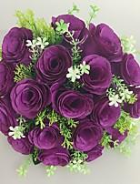 Bouquets de Noiva Redondo Rosas Buquês Casamento / Festa / noite Roxo Cetim 9.84