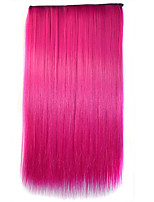 26 Inch Clip in Synthetic Rose Color Straight Hair Extensions with 5 Clips